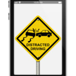 Cell phone with a distracted driving image inside