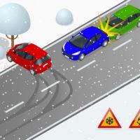 snowfall causes crash
