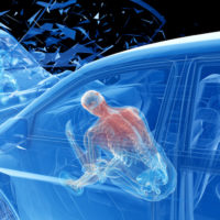 3d rendered illustration of two colliding cars - illustrating the effect of an impact without airbag