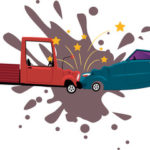 Cartoon image of head-on crash
