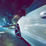 Speeding car on road
