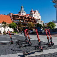 Dockless electric scooters in Vilnius; Lithuania