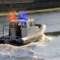 Motorboat River police go fast